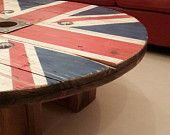 Items similar to Reclaimed Cable Drum – Rustic Union Jack Coffee Table on Etsy