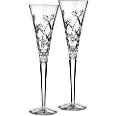 Waterford 'Wishes Believe' Lead Crystal Champagne Flutes ($135) ❤ liked on Polyvore featuring home, kitchen & dining, drinkware, clear, fluted champagne glass, champagne flute glasses, fluted champagne glasses, engraved champagne flutes and lead crystal champagne flutes