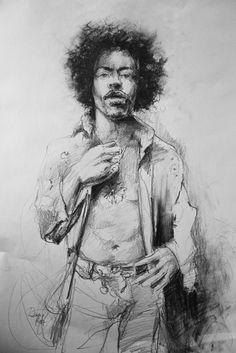 Jimi Hendrix ,pencil