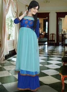 Breezy blue gown by Brijraj Indian Wedding Outfits, Indian Outfits, Wedding Wear, Wedding Gowns, Indowestern Gowns, Gown Suit, Evening Dresses, Summer Dresses, Blue Gown