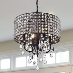 Found it at Wayfair - Chione 4 Light Crystal Chandelier Round Chandelier, Empire Chandelier, Globe Chandelier, Black Chandelier, Chandelier Lighting, Small Chandeliers, Monet, Lustre Globe, Hanging Crystals