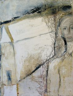 On The Back Steps by Jeane Myers oil and cold wax on panel www.jeanemyers.com www.jeane-artitblogspot.com