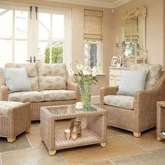 This stylish suite is available in Natural Wash with a strong and durable rattan weave Rattan Furniture, Bistro Table Set, Furniture Sets, Interior Furniture, Conservatory Interiors, Snug Room, Furniture, Conservatory Furniture, Living Room Furniture