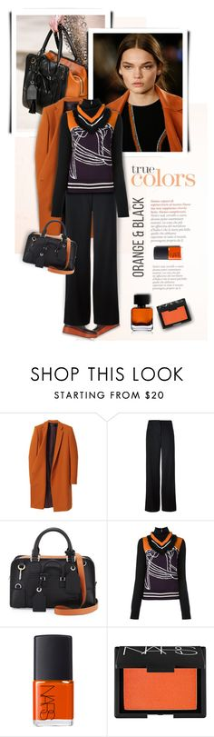 """Orange and Black"" by kiki-bi ❤ liked on Polyvore featuring Haider Ackermann, Helmut Lang, Loewe, Tory Burch, NARS Cosmetics, The Collection by Phuong Dang and orangeandblack"