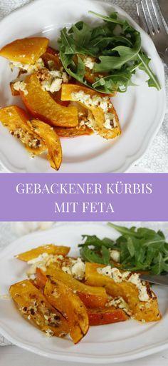 Kürbis Rezept: einfach, schnell und lecker. Gebackener Kürbis wird ausschließlich mariniert und im Ofen mit Feta gebacken. Sowohl als Kürbis Hauptgericht als auch als Kürbis Beilage köstlich.