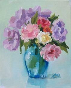 """ARTFINDER: """"Summer flowers in a glass vase"""" by Lyubov Rasic -"""