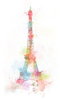 Eiffel Tower Illustration Paris France Watercolor ★ Find more vintage wallpapers for your +