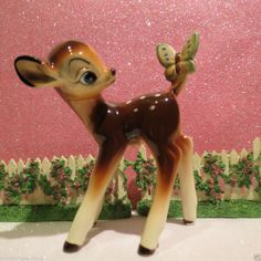Vtg Bambi Fawn Deer W Yellow Butterfly On Tail ~ DISNEY ~ JAPAN ~ EXCELLENT