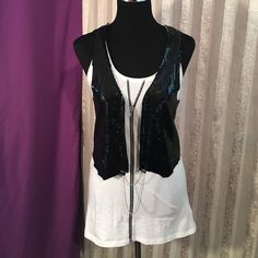 ✳️New Item! Cute tank steel top Attached sequins vest to super cute zipper tank. Brand new without tags! Abby Dawn Tops Tank Tops