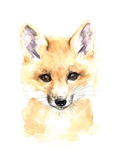 Baby Fox Watercolor Print от WildCanaryStudio на Etsy