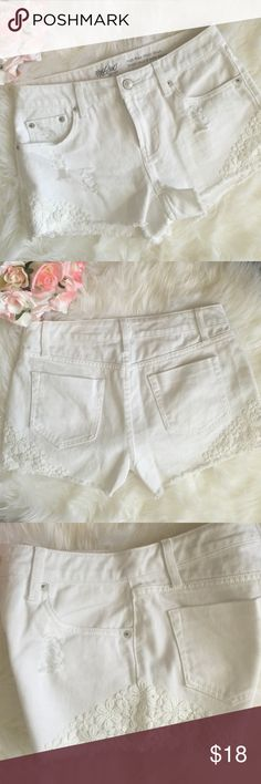 """LIKENEW White High Rise Lacey Short Shorts LIKENEW! Never worn, tags removed & washed once.  The Lacey crochet details on the sides is just too cute!! And I like the """"destroyed"""" look also.  Kinda gives an edgy side to the girly lace .  Style is """"high rise short shorts"""".  No stains or rips or holes.  Perfect condition! They did not fit me the way I wanted them too unfortunately . From target. Mossimo Supply Co Shorts Jean Shorts"""