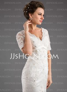A-Line/Princess V-neck Chapel Train Satin Tulle Wedding Dress With Lace Beadwork (002011999)  from JJ's House, Bridal & bridal accessories.  www.jjshouse.com We ship to Australia.   Please mention that you found them thru Jevel Wedding Planning's Pinterest Account.  Keywords: #weddinggowns #jevelweddingplanning Follow Us: www.jevelweddingplanning.com  www.facebook.com/jevelweddingplanning/