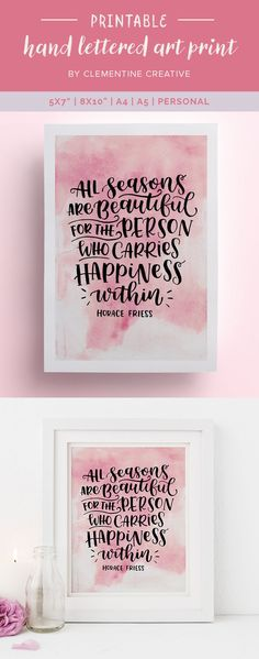 """Put this gorgeous hand lettered quote on your desk and in your planner so you'll be able to see it wherever you go! It comes in a variety of sizes, including A4, A5, 5x7"""", 8x10"""" and Personal size. Buy it here."""