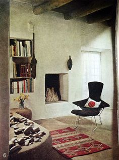 Georgia O'Keefe's house, 1965 Interior Exterior, Home Interior, Interior Architecture, Interior Design, Georgia Okeefe, Indian Homes, Living Spaces, Living Room, Interior Inspiration
