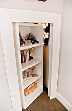 Bookcase/ small attic space door from design dump: ORC finale: a teen bedroom in peach + mustard