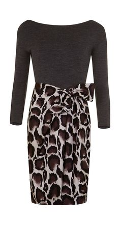 Dress in panther print twill and wool jersey