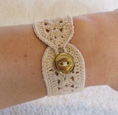 Items similar to vintage crochet bracelet inspired in ecru or beige on Etsy - - Crochet Gifts, Knit Crochet, Bracelet Crochet, Crochet Jewellery, Lace Bracelet, Jewelry Crafts, Handmade Jewelry, Hippie Bracelets, Wrap Bracelets