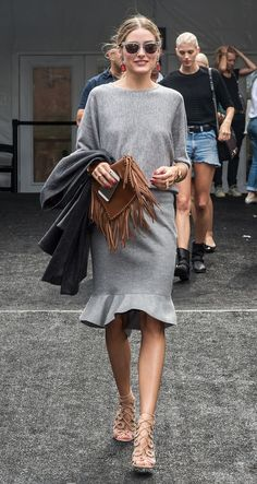 @roressclothes closet ideas #women fashion outfit #clothing style apparel gray dress Nude Cage Heels