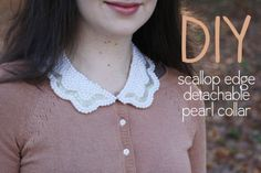 DIY beaded scallop edge detachable collar - I don't think I'd do it in white....I have different ideas :P