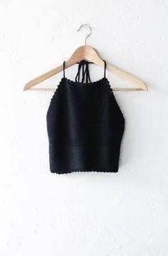Knit Sweater Halter Crop Top