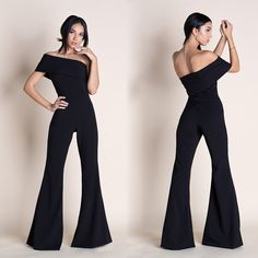 MUSE - OFF THE SHOULDER JUMPSUIT --- Soft stretch medium-weight fabric forms a trendy off-the-shoulder neckline and a fitted bodice, then transitions into flared pants to really show off your stems. Hidden side zipper. // Smooth fabric // Tailored // Off the shoulder // High waistband // Side zipper closure // Flared-leg // Fitted - true to size Flare Pants, Fitted Bodice, Stems, Jumpsuits For Women, Off The Shoulder, Muse, Neckline, Smooth, Closure