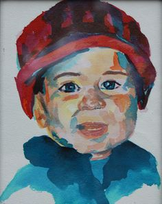 Anderson in a Red Hat - Allison Fox - foxfiregalleries.com - watercolor on paper