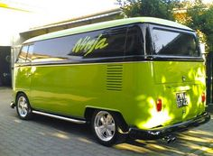 V - bus - lime green and black - called 'ninja'