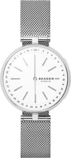 Skagen Signatur T-Bar Hybrid Smartwatch - Silver Mesh Big Watches, Best Watches For Men, Cool Watches, Silver Watches, Luxury Watches, Skagen, Smartwatch, Mesh Bracelet, Stainless Steel Mesh