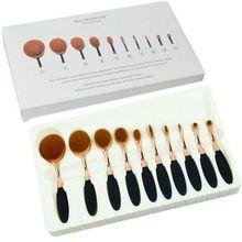 Escova de Forma Oval Pincel de Maquiagem Fundação Pó Sobrancelha Make up Brushes Ferramentas de Beleza ROSA De Ouro preto 5 Pçs/set 10 Pçs/set(China (Mainland))