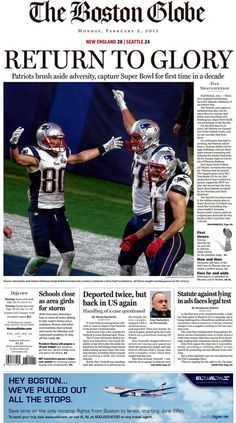 The front of the BostonGlobe tomorrow. #SB49