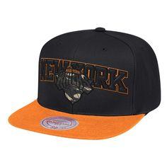 8491911d Men's New York Knicks Mitchell & Ness Black/Orange Woodland Covert II  Adjustable Snapback Hat, Your Price: $31.99