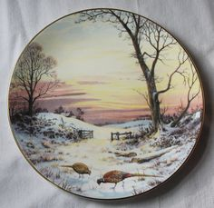 Royal Doulton Elizabeth Gray Bone China Plate - Evening Glow - At Pleace With Nature - Collectibles - Home Decor - Vintage Wall Decor Paiting, Nature, Bone China, Painting, Hand Painted Ceramics, Art, Pictures, Vintage