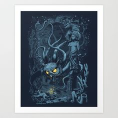 'Defender of the Deep' Poster by sumrow Framed Prints, Canvas Prints, Art Prints, Squid Tattoo, Tattoo Art, Werewolf Art, Deep Art, Tentacle, Limited Edition Prints