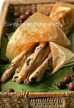 Grissini with olives ...
