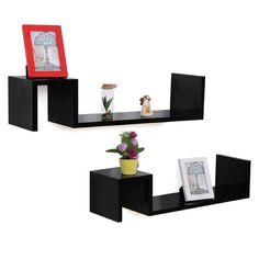 #Ebay #Floating #Wall #Shelves #2 #Storage #Fashionable #Display #Black #Wooden #Shelf #Set #MDF