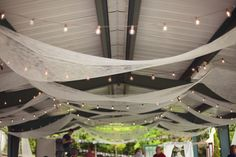 lighting & draping for a covered picnic shelter