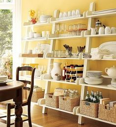 shallow, narrow open shelving on dining room wall - framing the window? - for displaying pretties...these look like mine!