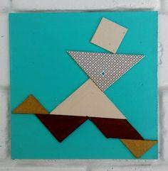 Japanese Tangram puzzle, Wall Art, Running Man, OOAK, Handmade, Trendy by CupiditasDesign on Etsy