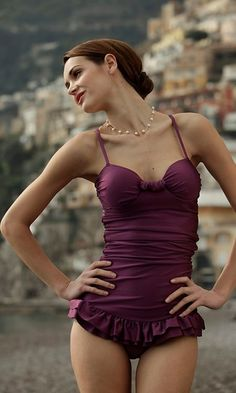 deep purple one piece--elegant. tasteful. stunning and just right for social engagements
