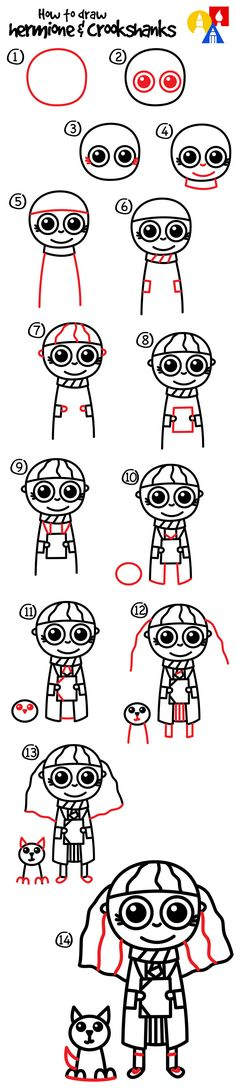 How to draw cute chibi hermione granger and crookshanks for Girly drawings step by step