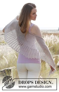 Ponchos & Shawls - Free knitting patterns and crochet patterns by DROPS Design Drops Design, Crochet Amigurumi Free Patterns, Knitting Patterns Free, Magazine Drops, Crochet Summer Dresses, Baby Afghan Crochet, Lace Patterns, Knitted Shawls, Lace Knitting