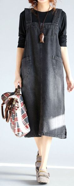 O-NEWE Casual Sleeveless Pockets Strap Denim Dress For Women