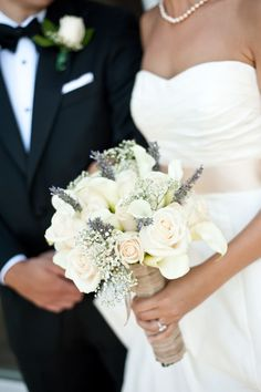 Bouquet-love the lavender with the white roses and baby's breath. #Repin By:Pinterest++ for iPad#