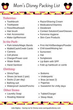 You won't forget a thing with this quick and easy Disney packing list for Mom! Check out the free printable & tips for the perfect Disney packing list. Packing List For Disney, Disney World Packing, Disney World Vacation Planning, Disney World Parks, Vacation Packing, Disney Planning, Disney Tips, Disney Vacations, Trip Planning