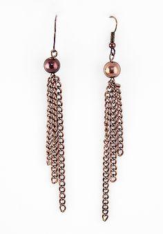 Retro Copper Bead Chain Tassel Dangle Earrings - Sheinside.com