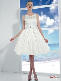 Buy Custom Made High Quality 2012 Unique Ball Gown Straps Back V-Neck Bowknot Sash Short Lace Wedding Dresses LWD20274 at wholesale cheap prices from Bridal-Buy.com