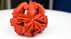 Origami-Kugel aus Papier basteln, Blütenkugel Faltanleitung