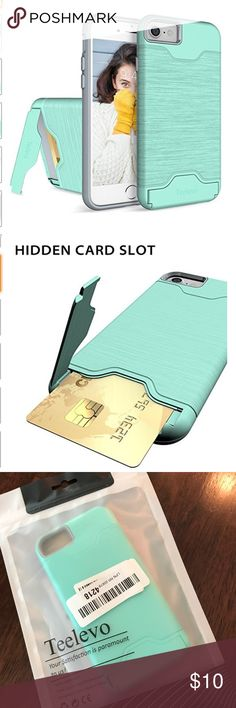 Sea Foam Green iPhone 7 Case Brand new in bag!!! From Web:  - Hidden card slot securely stores & seals your ID, credit cards, or cash (comfortably fits 1 card).  - KICKSTAND easily converts to perfect hands-free display for easy viewing. - FULL PROTECTION - The bumper case features a soft rubberized interior for shock absorbance & an exterior polycarbonate back panel for tough drops, scratches & bumps; The raised bazel keeps your screen and camera from scratching/ touching the ground…