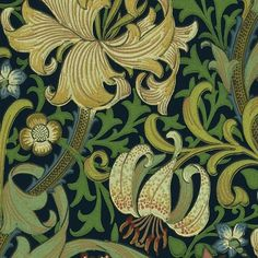 Golden Lily Wallpaper from the Archive Wallpaper collection by Morris & Co. A classic William Morris floral print wallpaper in greens and yellows on a deep indigo ground. Lily Wallpaper, Floral Pattern Wallpaper, Paper Wallpaper, Wallpaper Online, Chinese Wallpaper, Green Wallpaper, William Morris Wallpaper, Morris Wallpapers, Art Nouveau