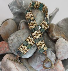 Czechmate Tile Superduo Cuff Bracelet Embellished with Toho Seed Beads  Czechmate Tile Beads ~ 6mm Bronze Picasso Teal SuperDuo Seed Beads ~